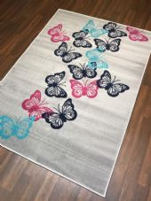 Modern Rug Approx 6x4ft 120x170cm Woven Backed Silver Butterflys Quality rug